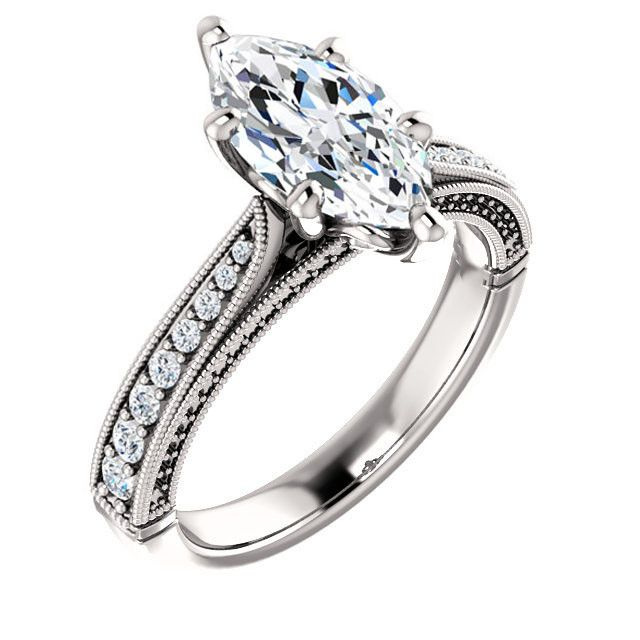 1.5 Ct Marquise Diamond Engagement Ring 14k White Gold – Goldia.com