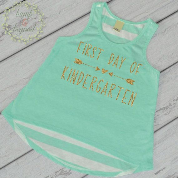 1st Day of Kindergarten Shirt, Kindergarten Shirt for Girls, Tank Top by Bump and Beyond Designs