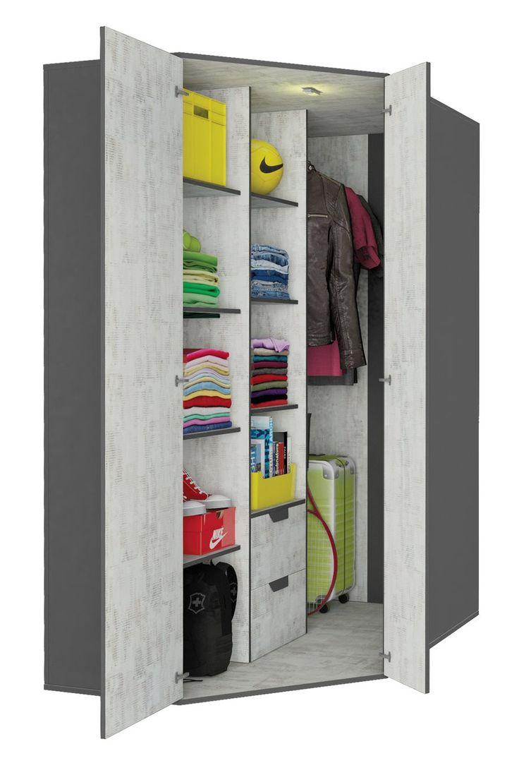 NANO 01 GARDEROBA - duża szafa 2-drzwiowa z drążkami, bielixniarka i szufladami.  Duża, pojemna szafa 2-drzwiowa, uniwersalna, montowana jako lewa lub prawa. W środku drążek do wieszania ubrań, 2 bieliźniarki oraz 2 szuflady. Szafa może być wyposażona dodatkowko w oświetlenie, które zapali sie po otwarciu drzwi.  Meble dostępne są w modnym połączeniu grafitu oraz płyty w kolorze enigma.