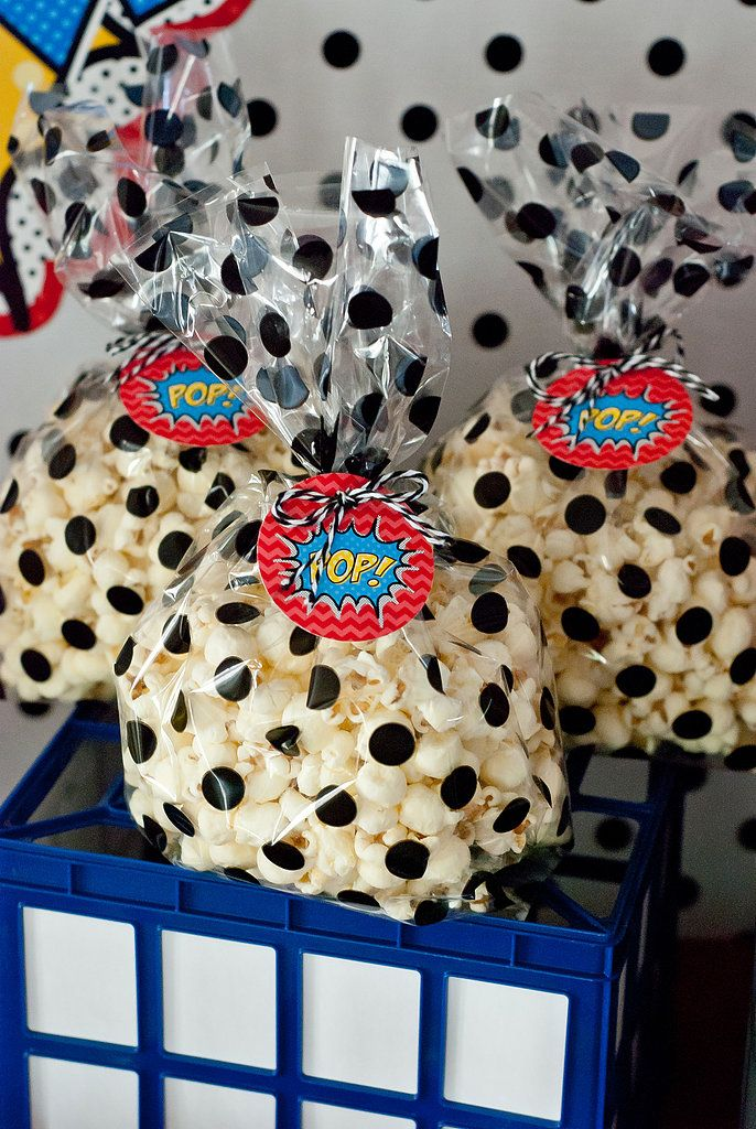"""I bought some white cheddar popcorn and some polka-dot bags ($1.50 at Hobby Lobby!) and bagged up some 'PO..."