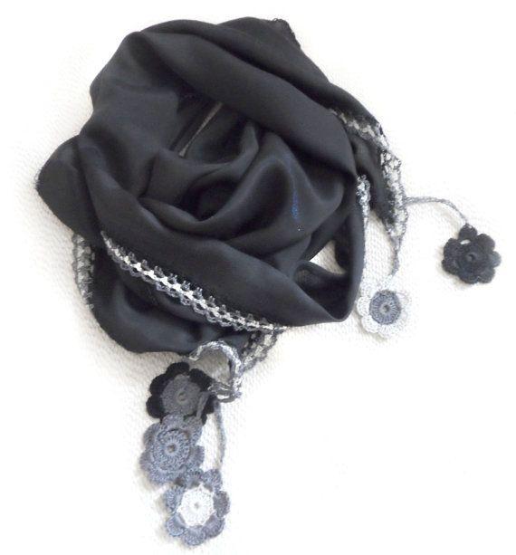 Black silk scarf /Shawl by SEVILSBAZAAR on Etsy