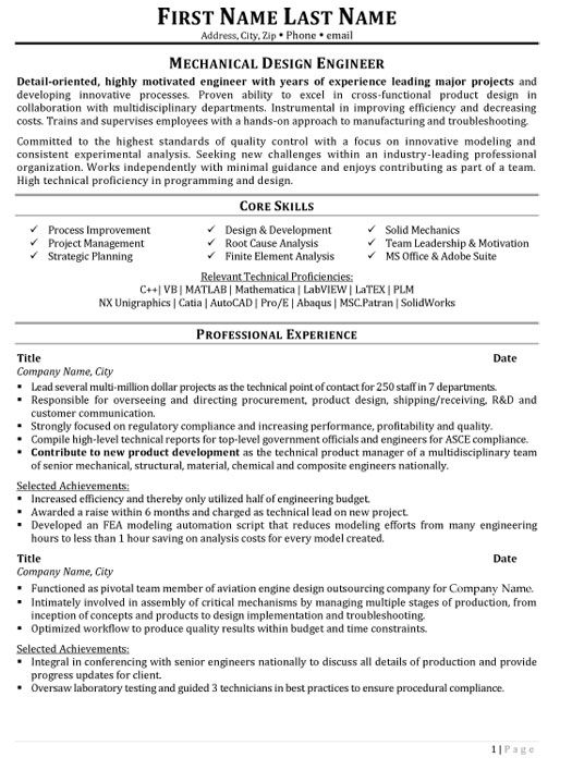 Pro E Designer Resume - Experts' opinions