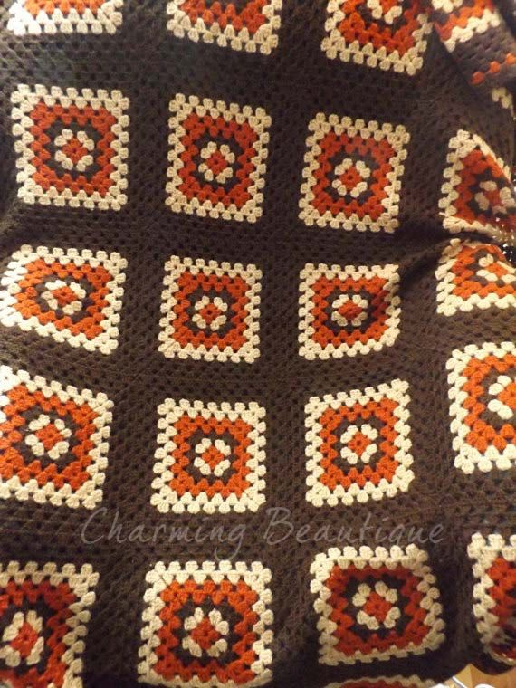 Crochet Lap Blanket Classic Granny Square Throw