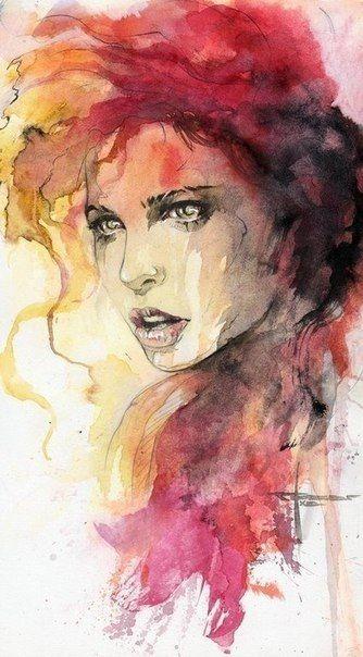 watercolor, portrait/ Aquarelles
