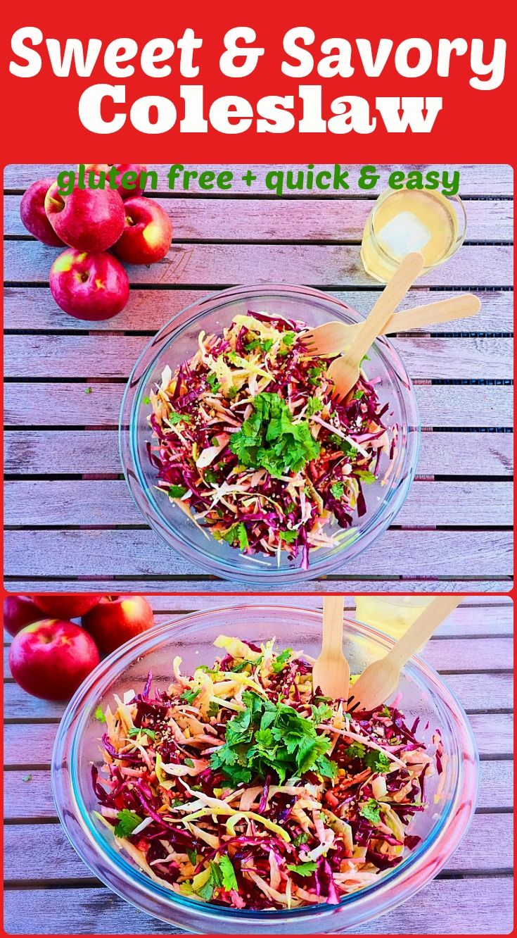 Sweet & Savoury Coleslaw on Elle's Gourmet Life | This crispy protein packed coleslaw is made of red and green cabbage, hemp hearts, shredded apples and cilantro.