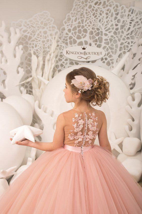 Blush rosa y amarillo flor girl vestido – cumpleaños fiesta de cumpleaños vacaciones dama de honor flor chica encaje vestido 21-096