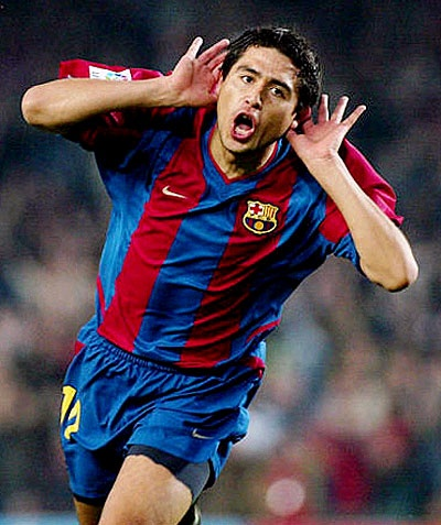 2002-05 Juan Román Riquelme came under contract with Barcelona in 2002. The Argentine had established himself with Boca, but wanted to leave due to personal reasons: a brother was kidnapped, but set free. When Barca signed Ronaldinho, it put them over the roster limit for non-Spaniards. Riquelme was transferred on loan to Villarreal to make way for the Brazilian great.