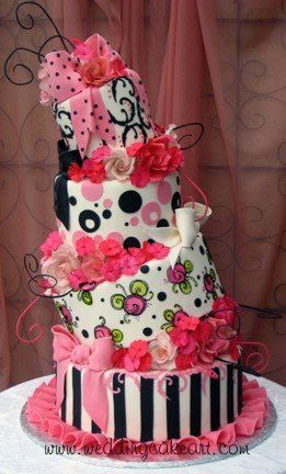Pink and black topsy turvy... the 3rd layer is my favorite style... love the painted blossoms...
