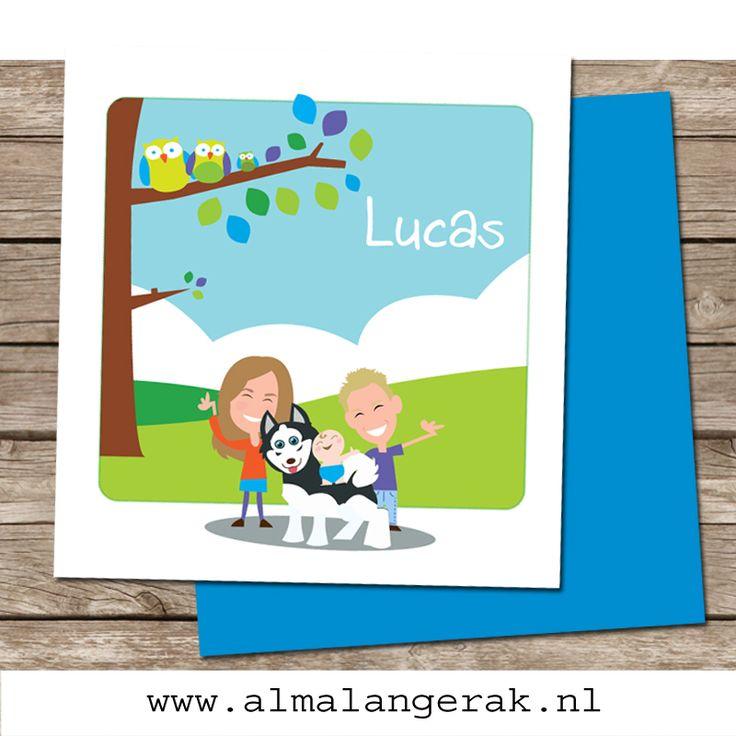 Hoera, Noah en Amber hebben een broertje: Lucas!  Op de voorkant van dit vrolijke #geboortekaartje staat een #boom met #uilen en de trotse #broer en #zus. Ook de #husky van het gezin staat afgebeeld.  Binnenin het kaartje staan ook nog #kippen , de #katten van het gezin en wederom Noah, Amber, Lucas en de #hond . #geboortekaartjes #huisdier #hond #uiltjes #uil