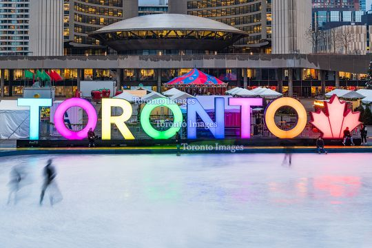 Toronto, Canada: 3D sign at Nathan Phillips Square, Winter