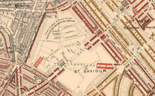 Old map of Maida Vale (Elgin Avenue running through centre)