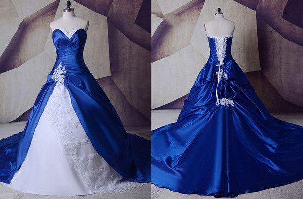 2019 Royal Blue White Wedding Dresses Real Photos Cheap Applique Beaded Sequined Court Train long Bridal Gowns Plus size New