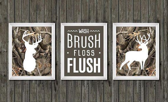 Camo bathroom decor, boys bathroom decor, deer bathroom decor, wash, brush, floss, flush, camouflage, deer bathroom theme, hunting bathroom