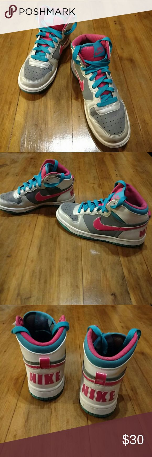 Nike Hi Tops AWESOME NIKE Hi tops. Grey, pink, turquoise and white. Worn one time for high school graduation! Nike Shoes