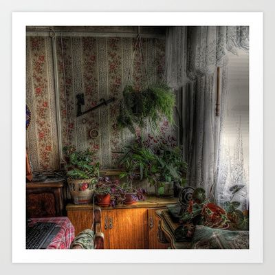 Inside garden in old house Art Print by Marcela Ponce - $31.20
