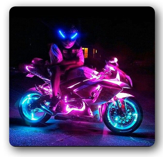 Motorcycle,  sportbike, sport bike, light kit, pink, bike, art