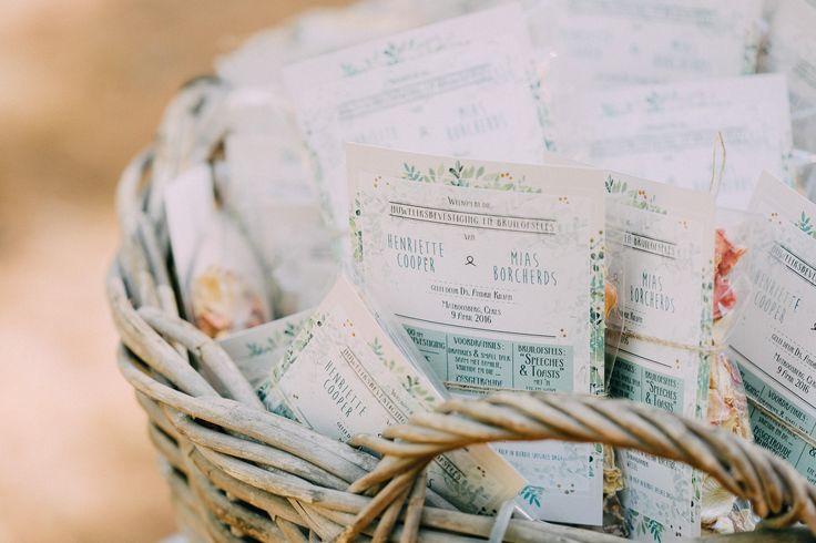 Ceremony programs. Wedding stationery. Pre-packed confetti.