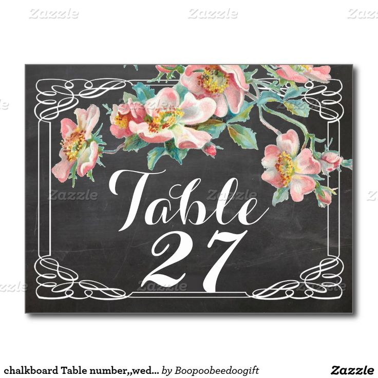chalkboard Table number,,wedding table numbers Postcard