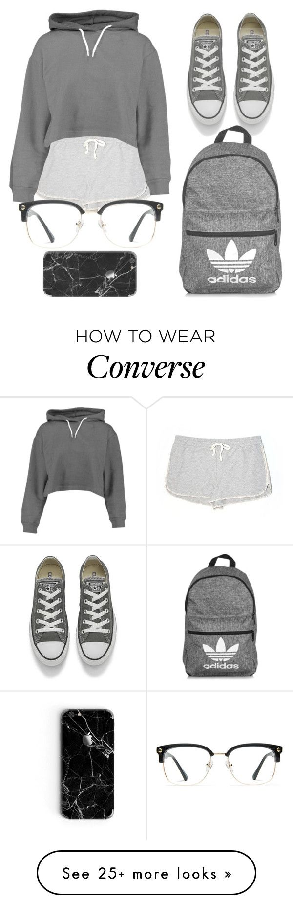 """grey tones"" by tay1a on Polyvore featuring Lou & Grey, Boohoo, Converse, adidas and GlassesUSA"