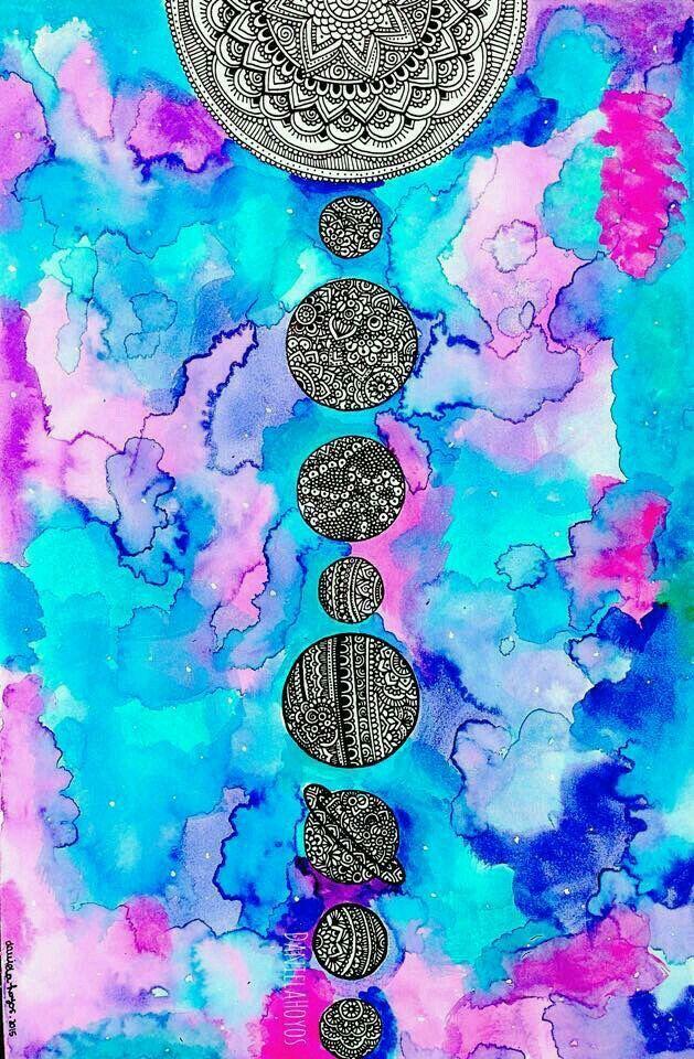 #planetas #galaxia #acuarela
