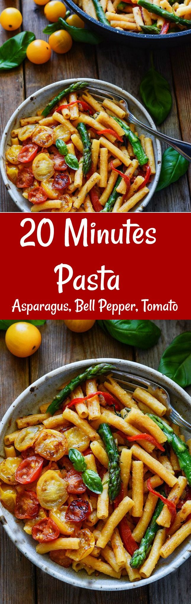 20 Minute Pasta with Asparagus, Bell Peppers and Tomatoes, so fresh and flavorful, vegan and gluten-freee