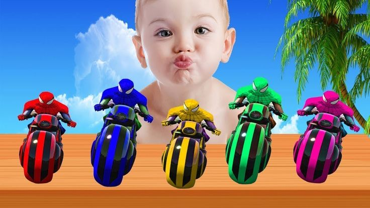 Learn Color with Spiderman Cars Cartoon | Colors Motorbike Finger Family Nursery Rhyme for Kids 2