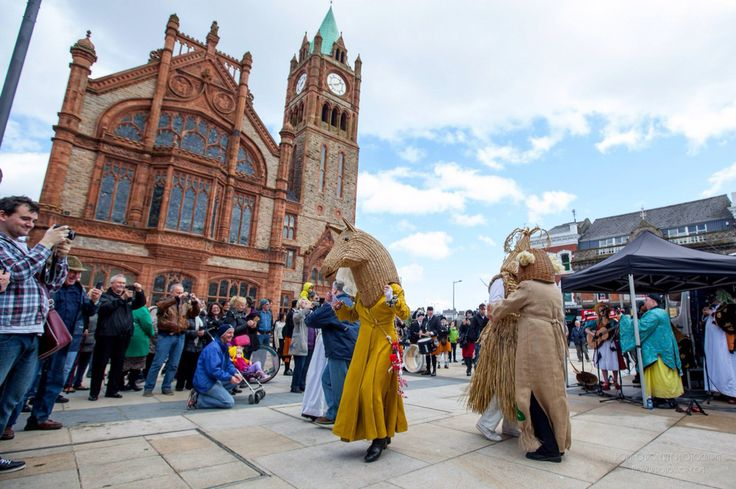 Performing outside Guildhall, Derry for International Pan Celtic Festival 2015  Celtic Festival - Irish Festival - Tourism Ireland - Northern Ireland Tourist Board - Celtic Connections - Celtic Links