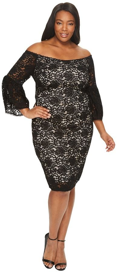 96aca1472bd Adrianna Papell Plus Size Juliet Lace Off the Shoulder Sheath Dress ...