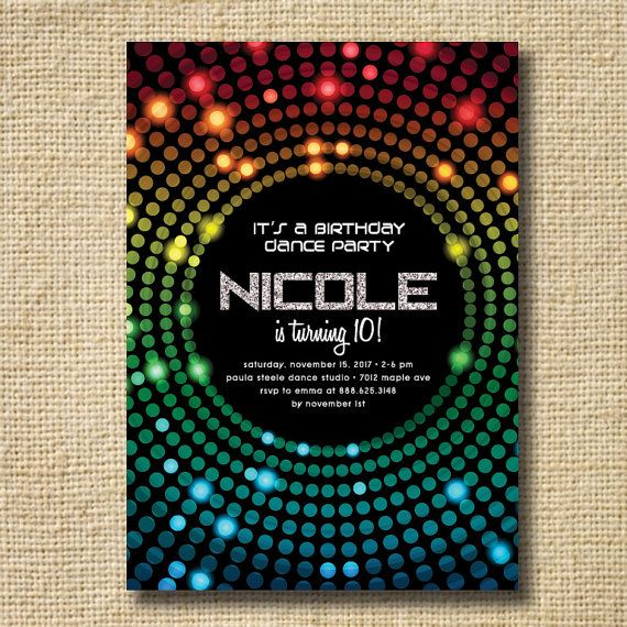 Disco Dance Party Birthday Invitation. Dance Birthday Party Invites. Disco Ball, Silver, Rainbow Glitter. Printable Digital DIY
