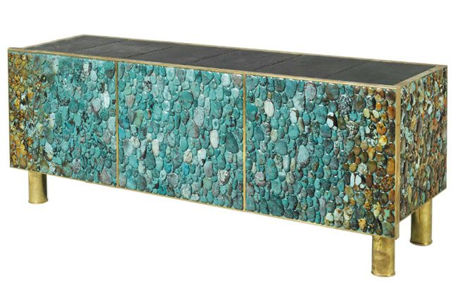 turquoise, slate and brass cabinet - kam tin
