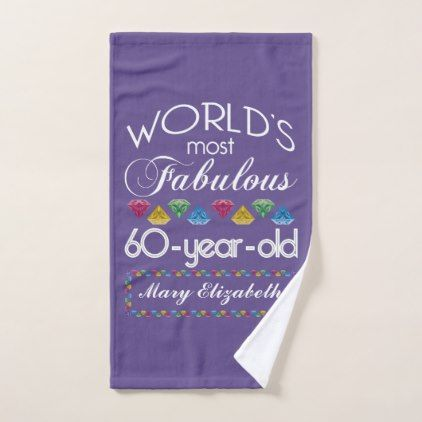 60th Birthday Most Fabulous Colorful Gems Purple Hand Towel - simple clear clean design style unique diy