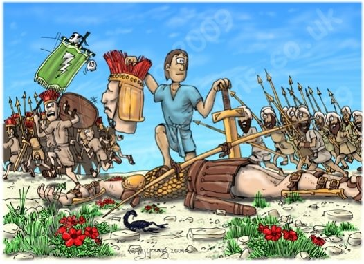 1 Samuel 17:50-51-David & Goliath - Goliath beheaded So David triumphed over the Philistine giant with only a stone and sling. And since he had no sword, he ran over and pulled Goliath's sword from its sheath. David used it to kill the giant and cut off his head. When the Philistines saw that their champion was dead, they turned and ran.