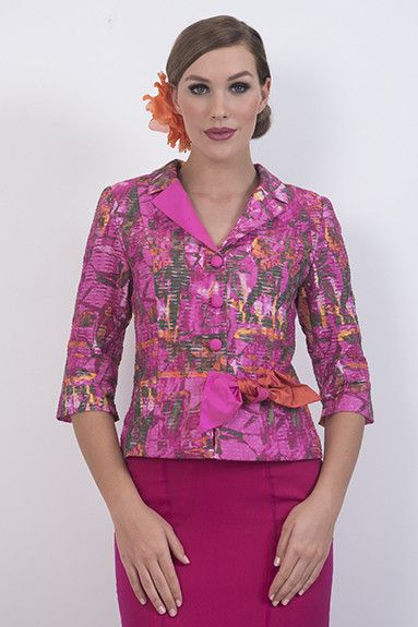 Sunset Tie Jacket – A predominantly hot pink brocade jacket trimmed with orange and hot pink silk. Fully lined, 3/4 sleeves and tie detail at waist.  piadupradalonline