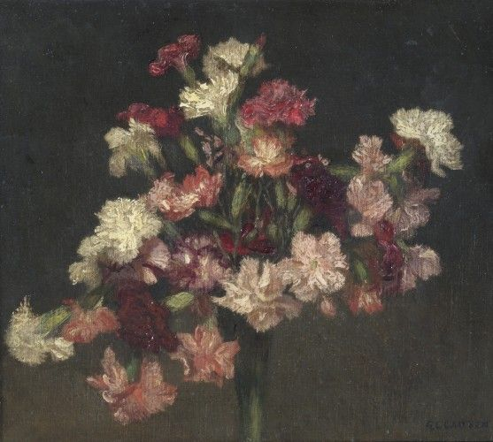 Carnations (c. 1930). George Clausen (1852 - 1944) Date c. 1930 Dimensions 34.5 x 40 cm Object Type oil Material oil on canvas Credit notes Brangwyn gift, 1936- apprenticed to William Morris http://www.wmgallery.org.uk/collection/browse-the-collection/carnations-bro27-c-1930/object-type/oils-and-watercolours/page/1