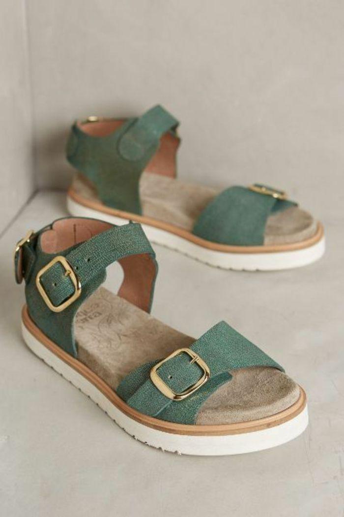 sandales plates femme, sandales pas cher femme design en vert