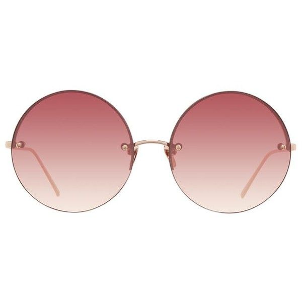 Linda Farrow Round Sunglasses ($635) ❤ liked on Polyvore featuring accessories, eyewear, sunglasses, glasses, pink, uv protection sunglasses, linda farrow, pink glasses, uv protection glasses and linda farrow glasses