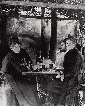 Toulouse-Lautrec and frequent model, La Goulue, at Moulin de la Galette, Montmartre, Paris