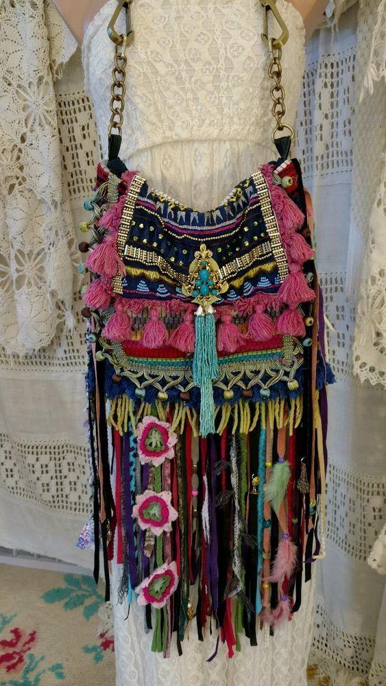 Handmade Ibiza Festival Shoulder Fringe Bag Hippie Boho Hobo Gypsy Purse tmyers…