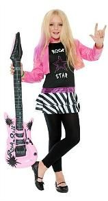 Low cost 80s Rock Star Costume for kids (4 to 12 years). Includes pink jacket and dress with zebra print style skirt.