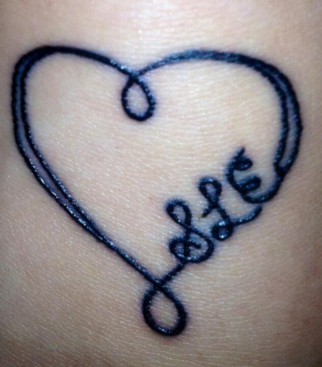 Sister tattoo idea..I like the incorporation of initials