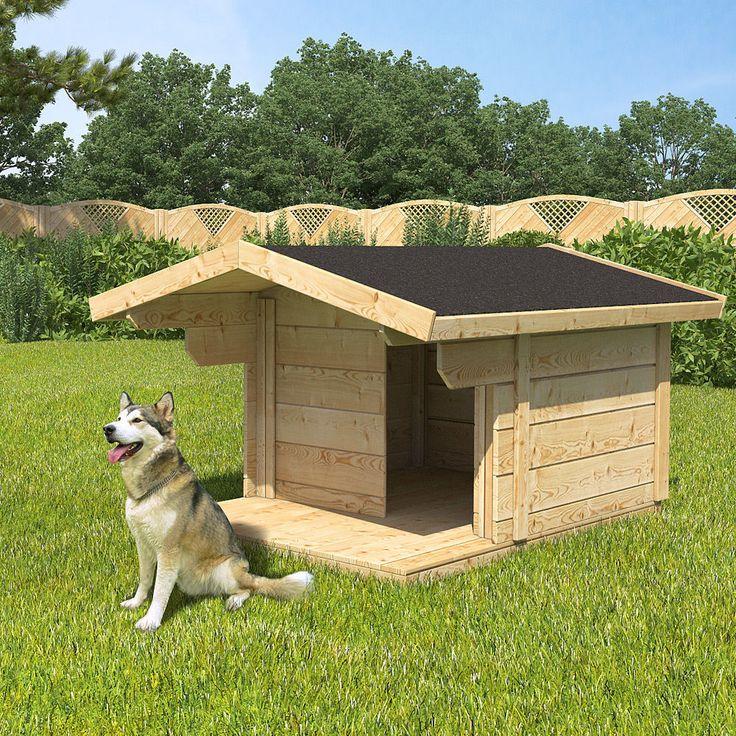 XXL Hundehütte Hundehaus 170x90x140cm Vordach Hundezwinger Massiv Echtholz Hütte   eBay