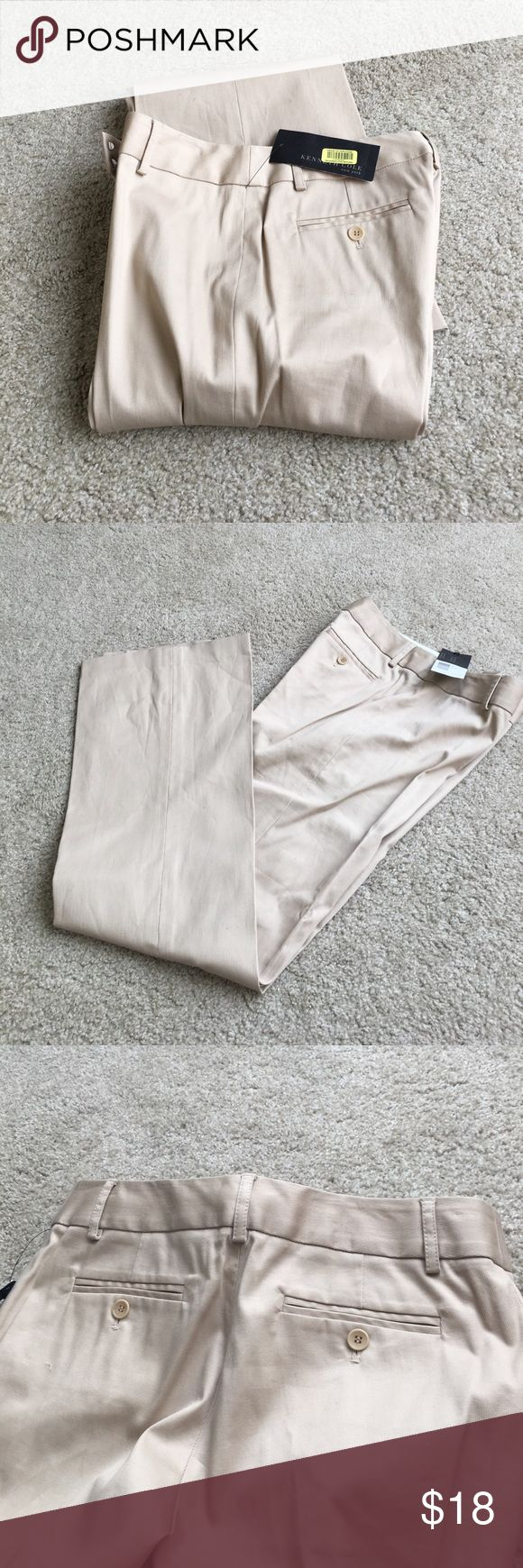 "New Kenneth Cole Kyla pants Tan pants purchased at Dillard's. Style is Kayla by Kenneth Cole New York. 98% cotton, 2% Lycra. Leg has a slight Flare. Inseam is 33"". New with tags. Size 4 Kenneth Cole Pants"