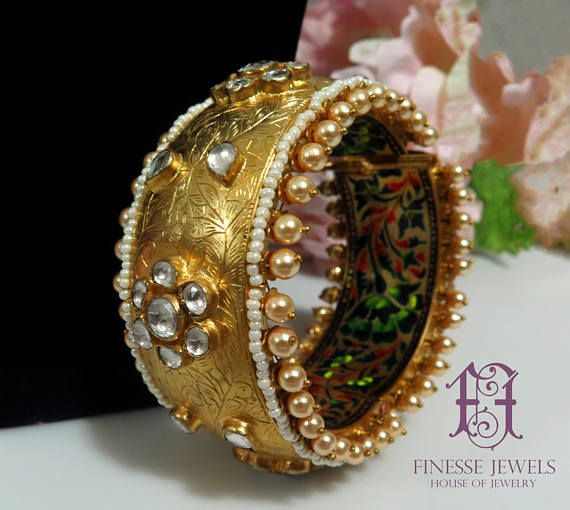 Exquisite Gold Enameled Carved Kundan Seed Pearls Bracelet | Mughal Jewelry | Rare Bracelet | Indian Jewelry | Collectible High End Jewelry
