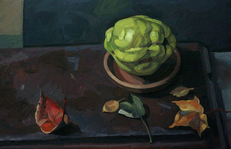 'Quince and Leaves' oil on canvas Sam Dalby  2014