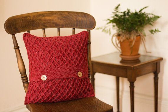 Red Cushion Cover, Red Scatter Cushion Cover, Red Throw Pillow Cover, Red Accent Cushion Cover, Red Crochet Cushion Cover, Red Wool Cushion