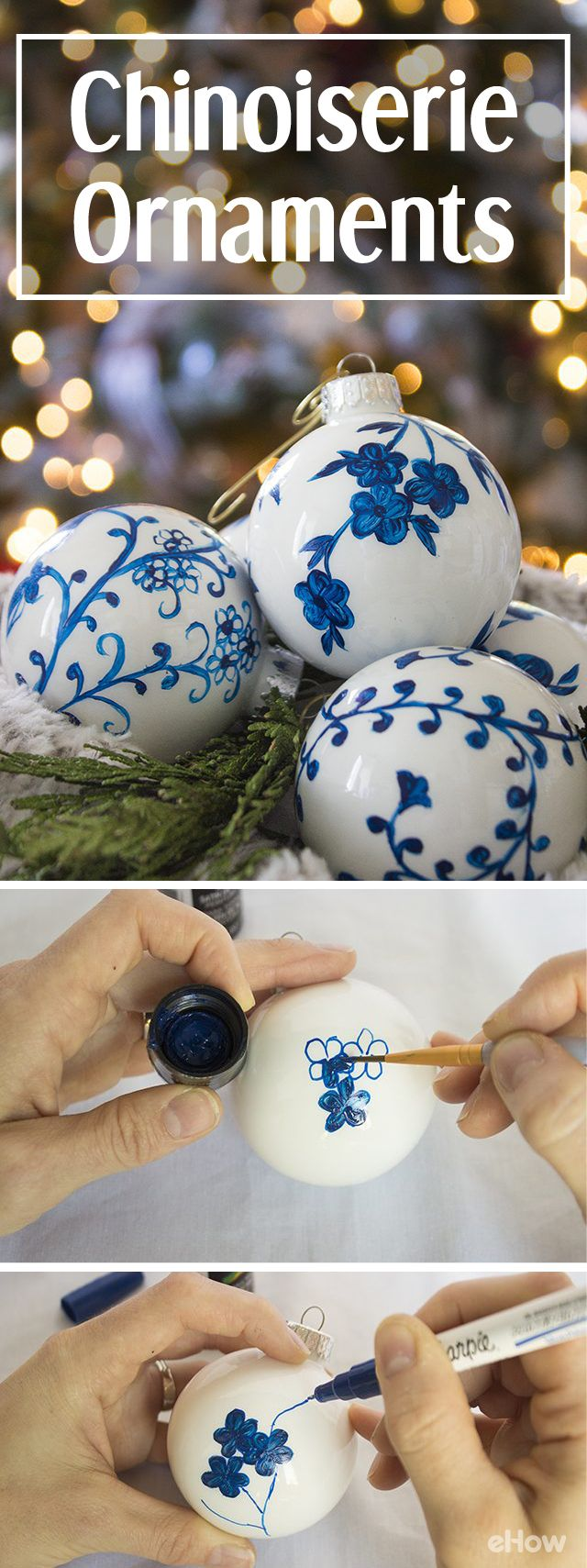 Chinoiserie china has beautiful patterns and classic colors, making them highly collectible and often expensive. Learning how to create your own ornaments with a simple Chinoiserie pattern allows you to get that expensive, collectible look for a fraction of the cost! DIY instructions here: http://www.ehow.com/how_12343056_beautiful-diy-chinoserie-ornaments.html?utm_source=pinterest.com&utm_medium=referral&utm_content=freestyle&utm_campaign=fanpage