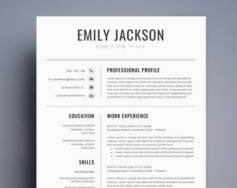 Modern Professional Resume Template For Ms Word Minimal Resume