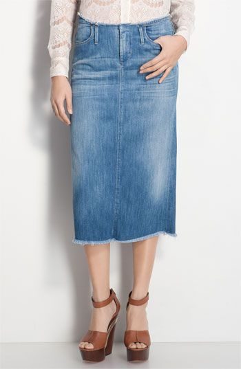 Must have for Spring/Summer: Midi Skirts, Skirts Style, Skirts Design, Colleges, Jeans, Spring Fashion, Straight Line, Long Denim Skirts, Cutoffs Denim