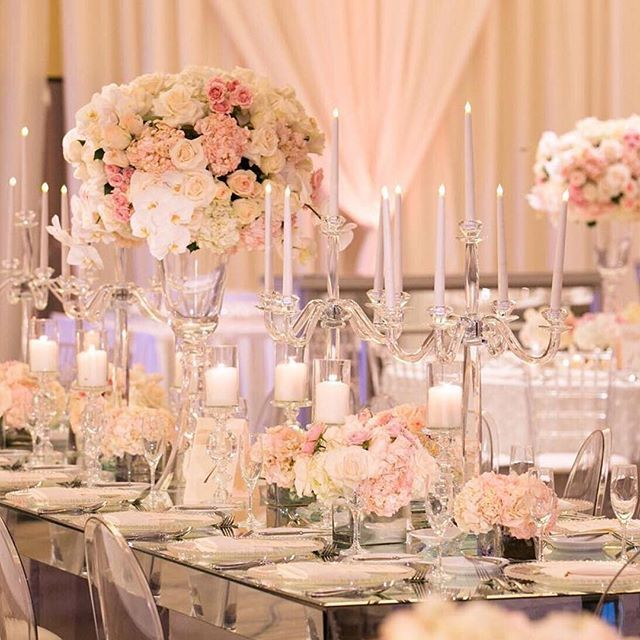 Loving This Centerpieces In Whites And Blush Tones