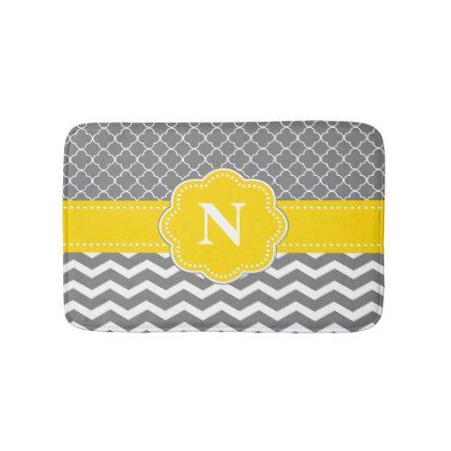Gray Yellow Chevron Monogram Bathmat